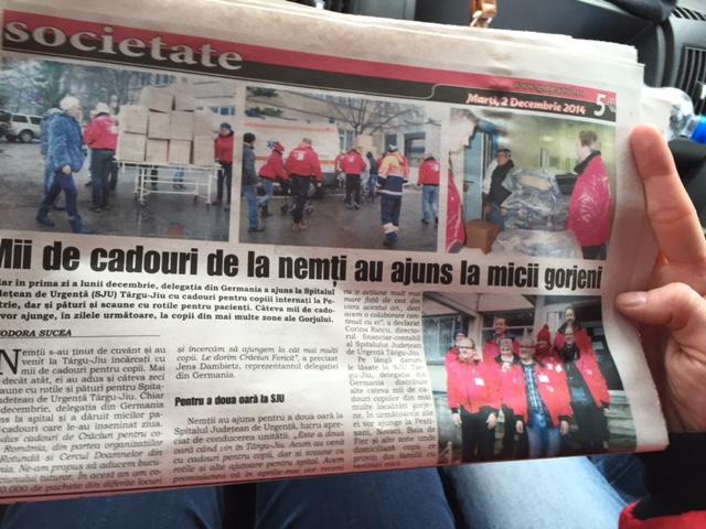 Bericht über den Weihnachtspäckchenkonvoi in der rumänischen Regionalpresse
