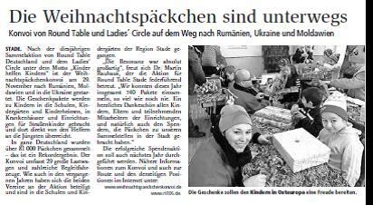 Bericht im Tagesblatt in Buxtehude